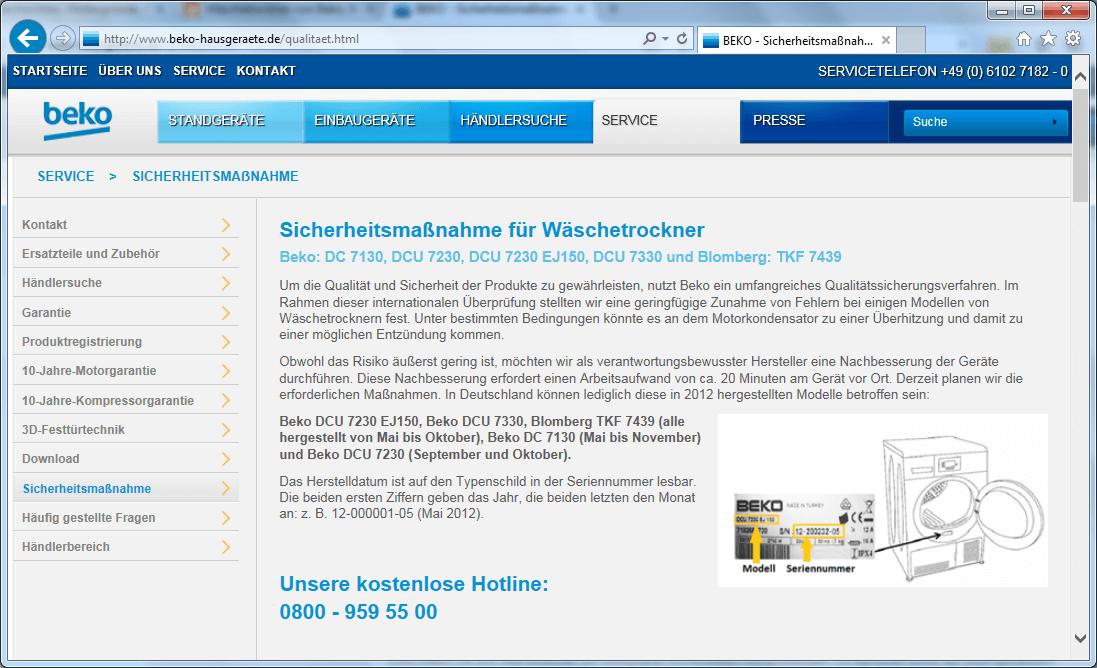 Rückruf Beko Kondensation Wäschetrockner kurzanleitung.net