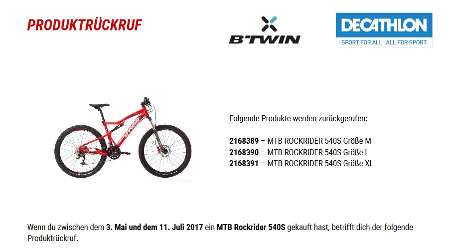 Rückruf Decathlon Mountainbike Rockrider - kurzanleitung.net