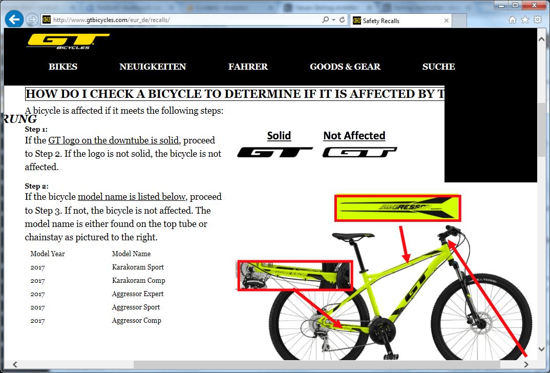 Rückruf GT Bicycles Lenkerbruch kurzanleitung.net