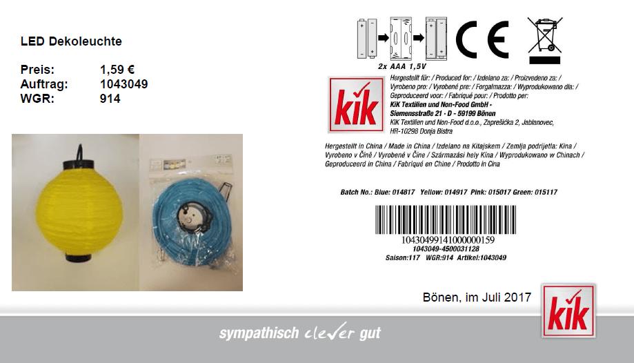Rückruf KiK Textil Discount kurzanleitung.net
