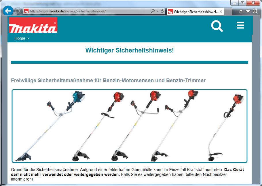 Rückruf Makita Dolmar Sensen und Trimmer - kurzanleitung.net