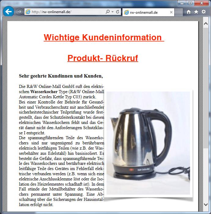 Rückruf R&W Online-Mall Wasserkocher - kurzanleitung.net
