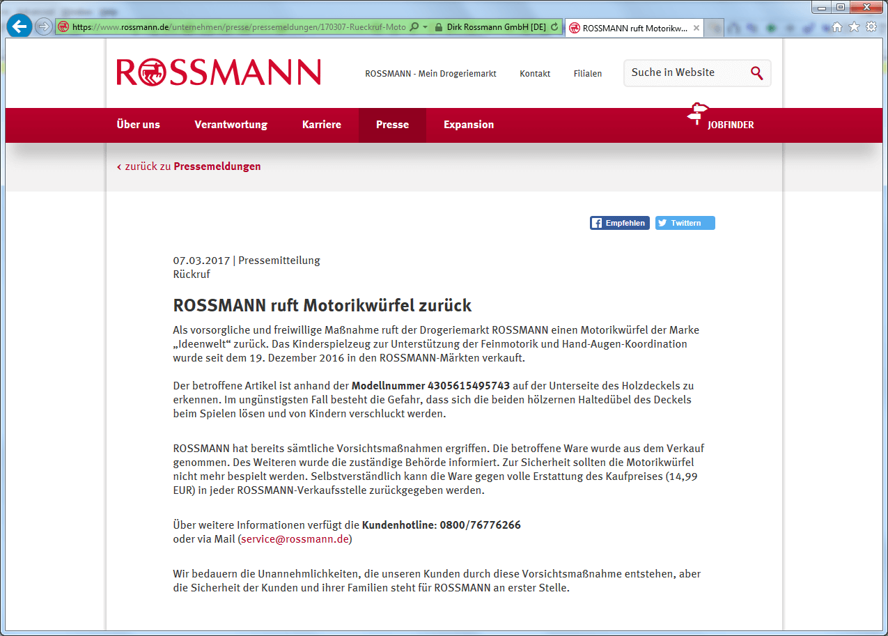 Rückruf Dirk Rossmann Motorikwürfel