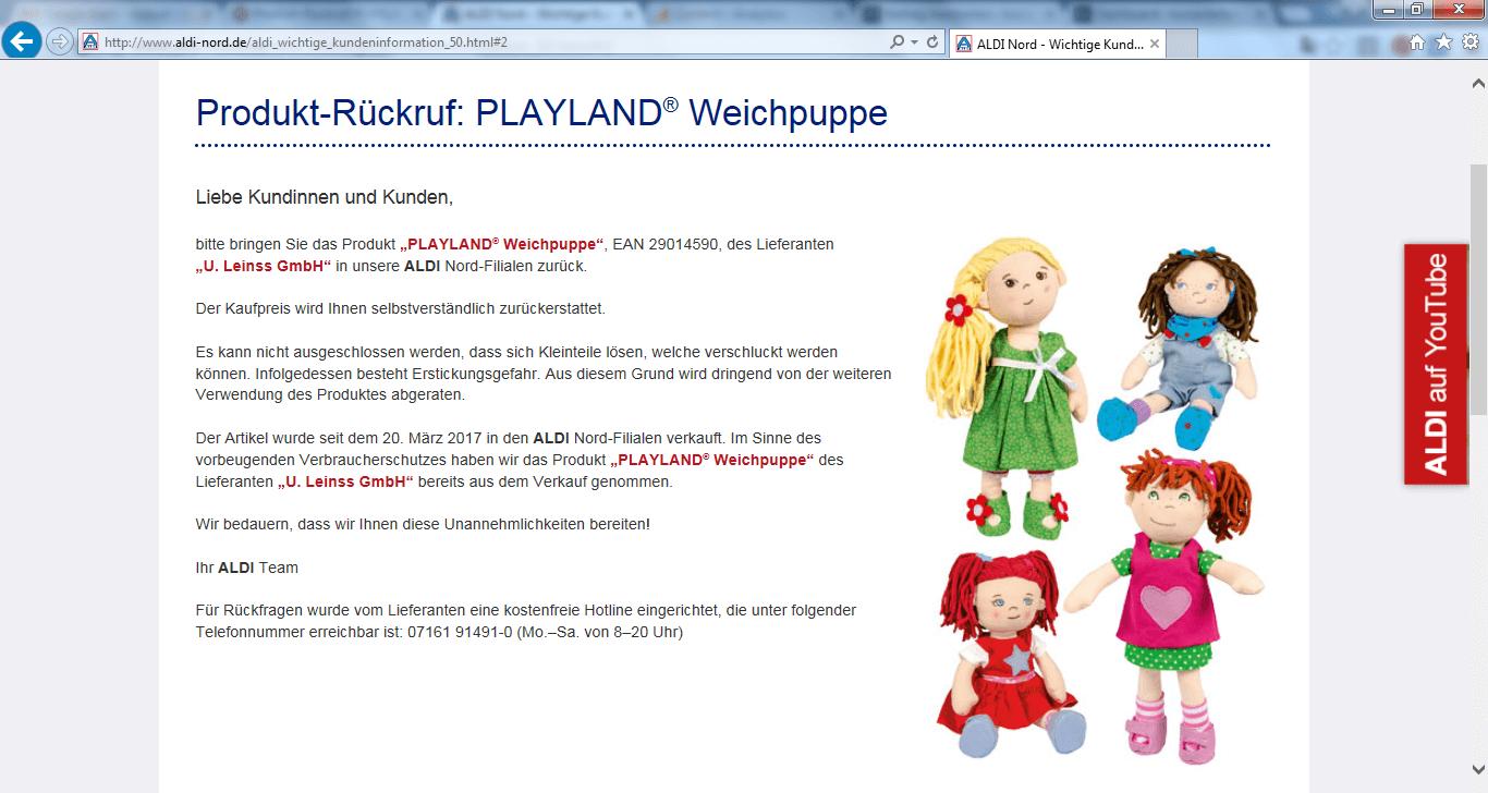 Rückruf Aldi Nord Weichpuppe kurzanleitung.net