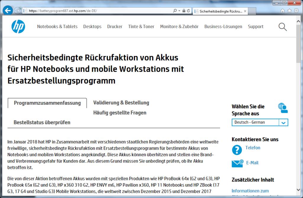 Rückruf HP Notebook Akkus - kurzanleitung.net