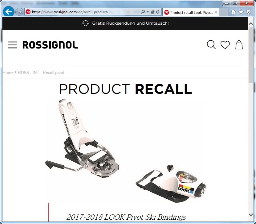 Rückruf Rossignol Ski Bindung LOOK Pivot 2017 2018 - kurzanleitung.net