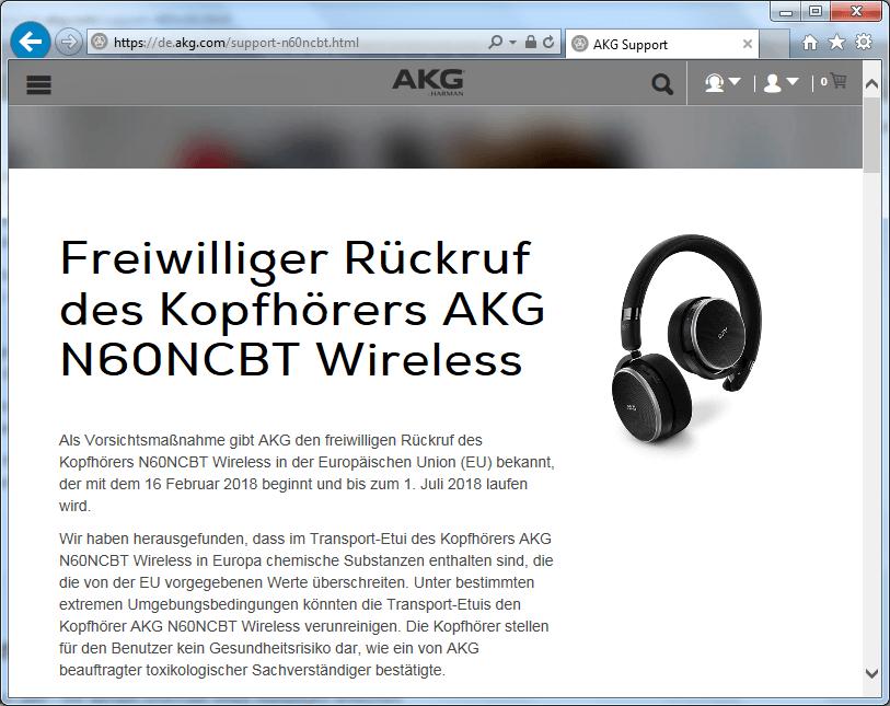 Rückruf AKG Wireless Kopfhörer N60NCBT - kurzanleitung.net