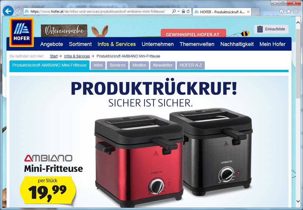 kurzanleitung.net - Rückruf: Mini-Fritteuse von Hofer KG