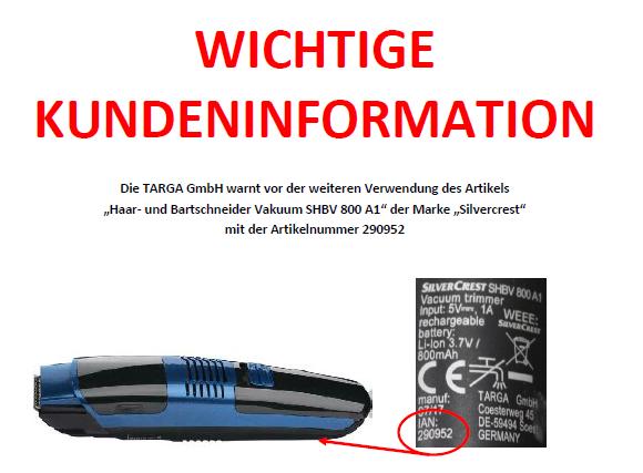 Rückruf - Lidl und TARGA - kurzanleitung.net
