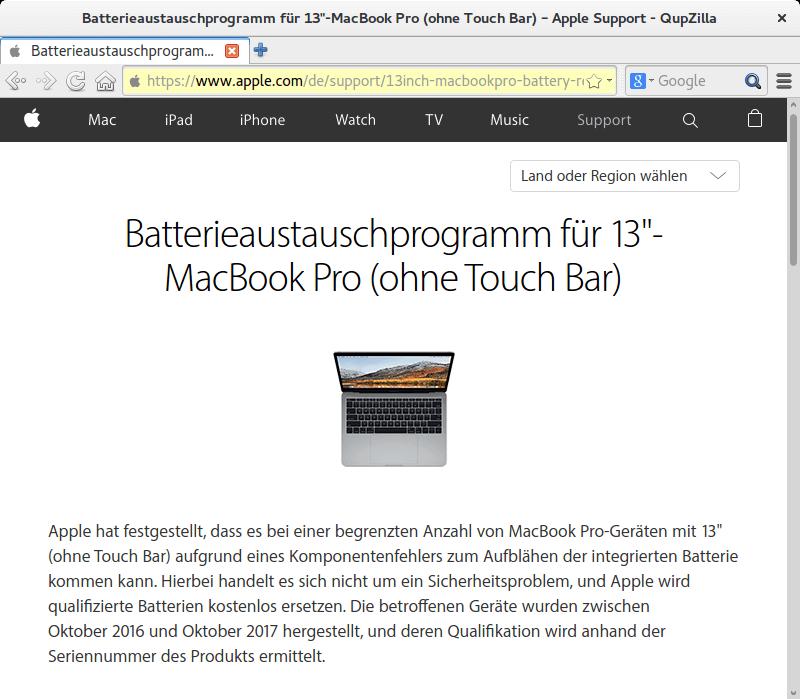 Rückruf: Apple MacBook Pro - kurzanleitung.net