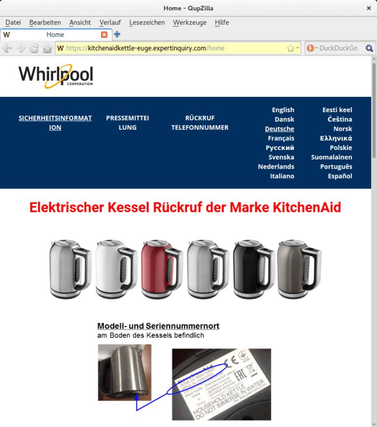 Rückruf Whirlpool Kitchen Aid Wasserkocher - kurzanleitung.net