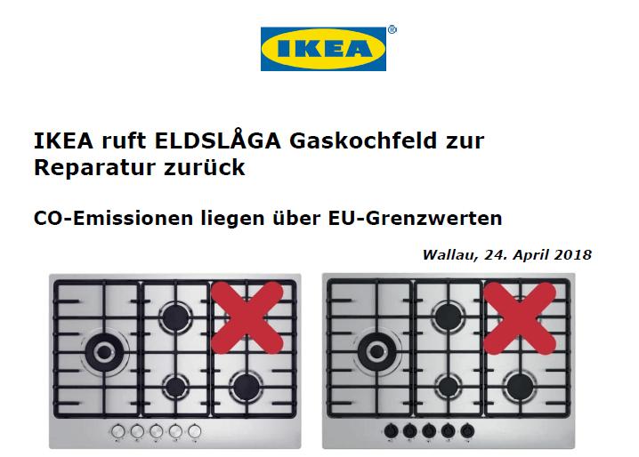 Rückruf - IKEA Gaskochfeld - kurzanleitung.net
