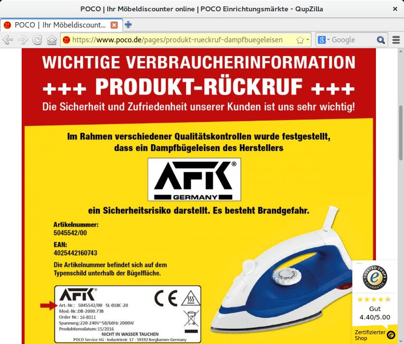Rückruf Poco Dampfbügeleisen - kurzanleitung.net