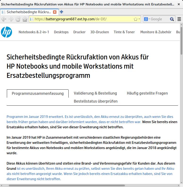 Rückruf HP Notebooks und Mobile Workstations - kurzanleitung.net