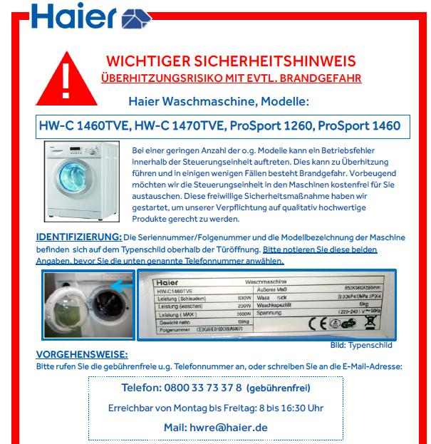 Rückruf Haier Waschmaschine - kurzanleitung.net