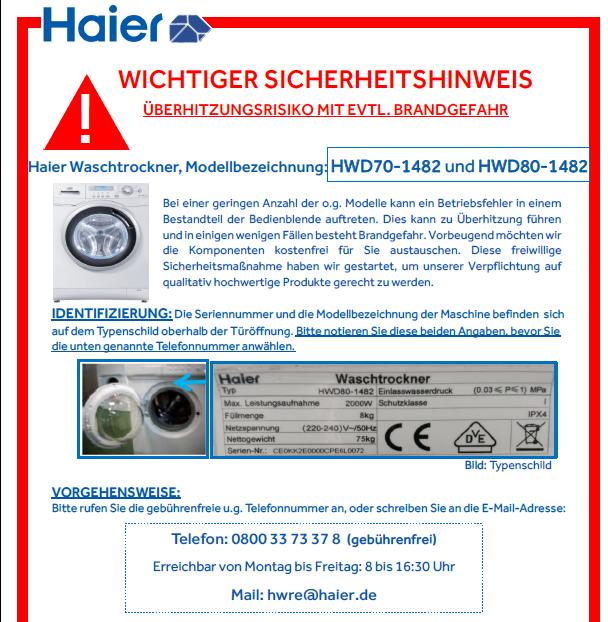 Rückruf Haier Waschtrockner - kurzanleitung.net
