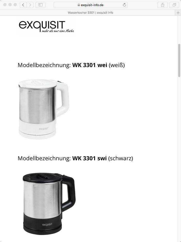 Rückruf Exquisit Wasserkocher - kurzanleitung.net