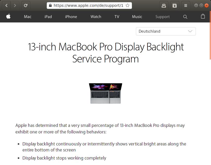 Rückruf Apple MacBook Pro Display Hintergrundbeleuchtung - kurzanleitung.net