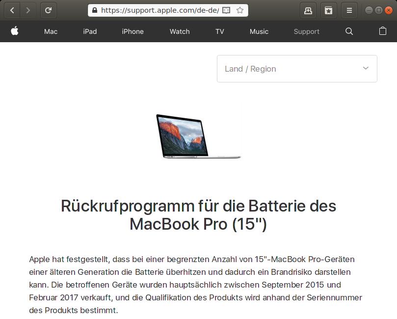 Rückruf: Apple MacBook Pro (Retina) - kurzanleitung.net