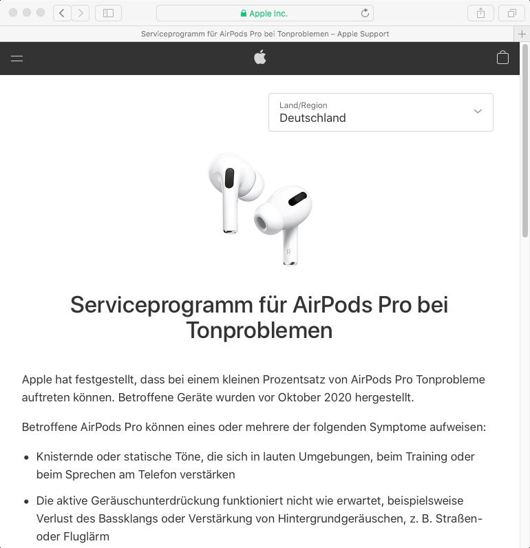 Rückruf Apple AirPods Pro